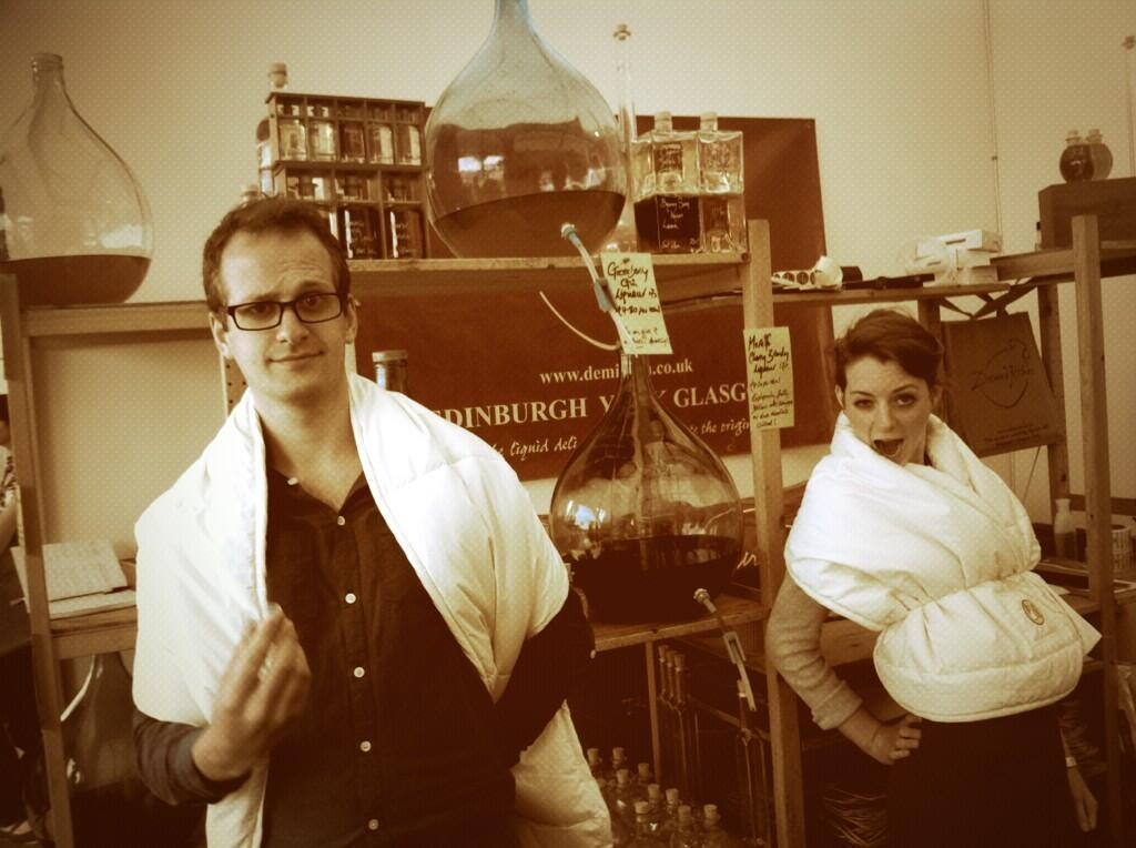 Tiggy and Mark in action on the Demijohn stand, watch out!