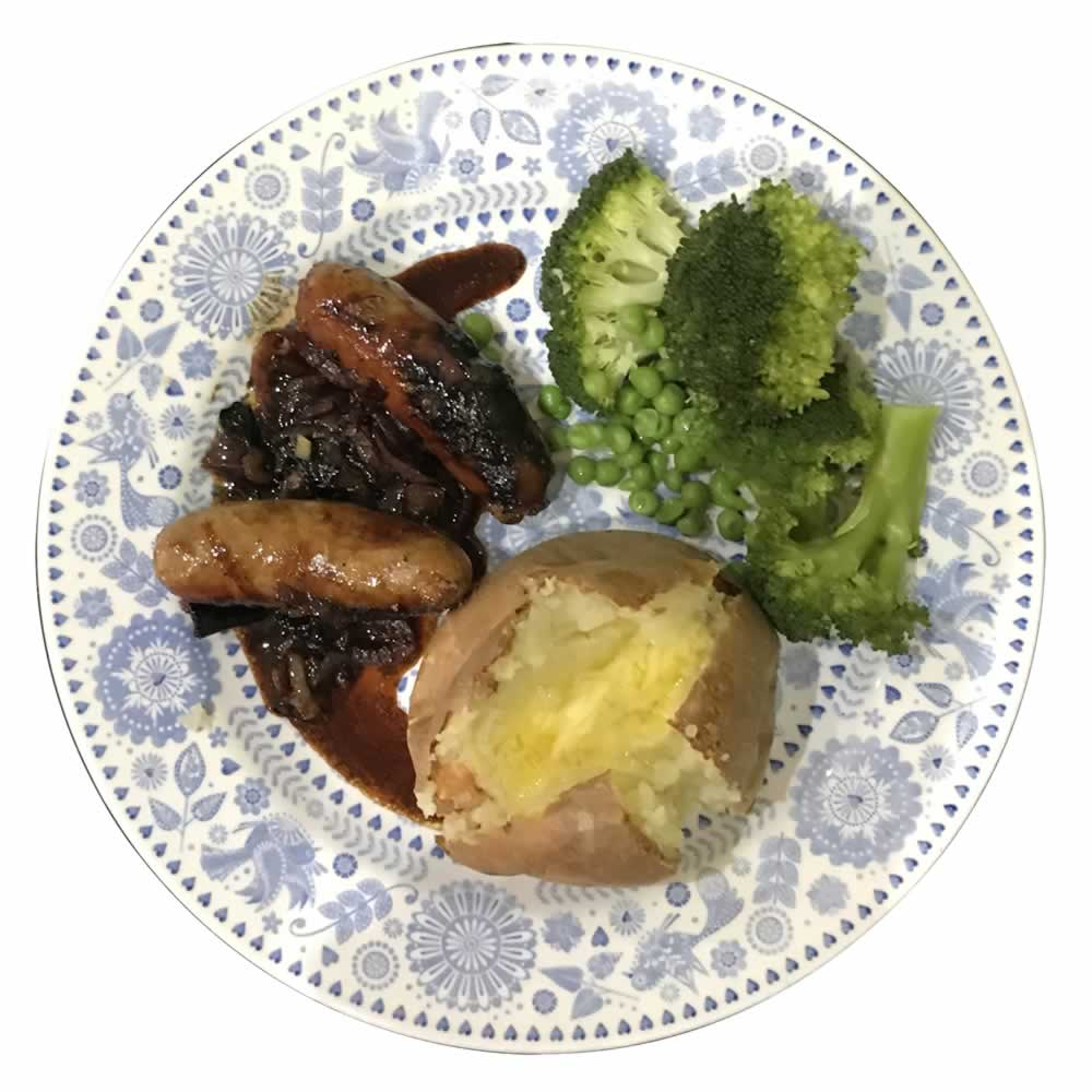 Click for the recipe, Sausages with Red Onion and Bramble Glaze