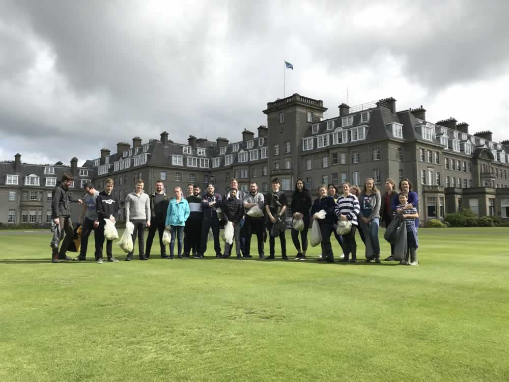 The huge team of pickers at Gleneagles Hotel in 2019