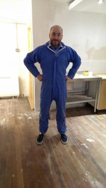 Darren Anderson, our new Oxford Shop Manager, ready for anything (including painting shelves!)
