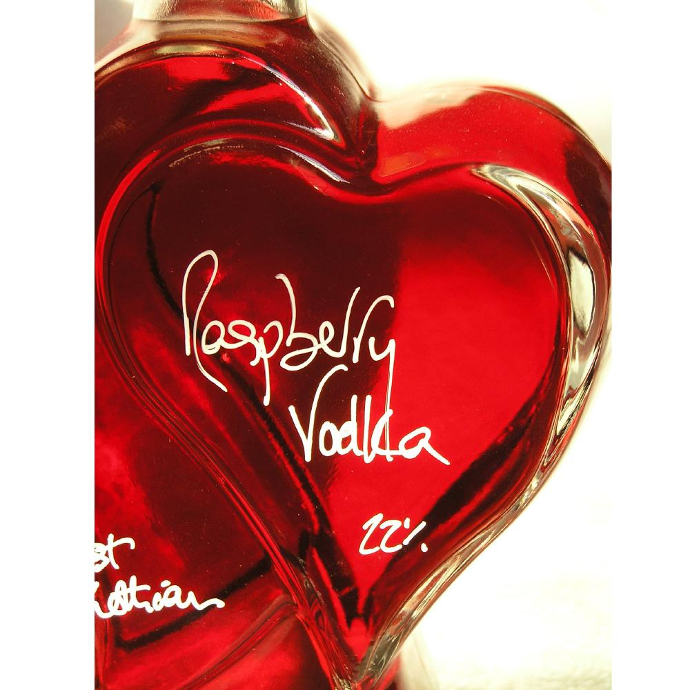 One for the Heart - A 500ml Heart shaped bottle filled with Raspberry Vodka Liqueur