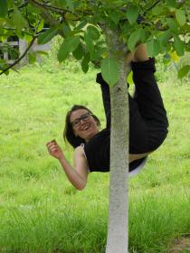 Karen simply hanging about while picking!