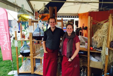 Mark and Carrie on the Demijohn stand at Burghley Horse Trials
