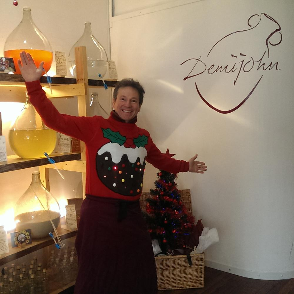 Angus joins in Christmas jumper day in our Oxford Shop!
