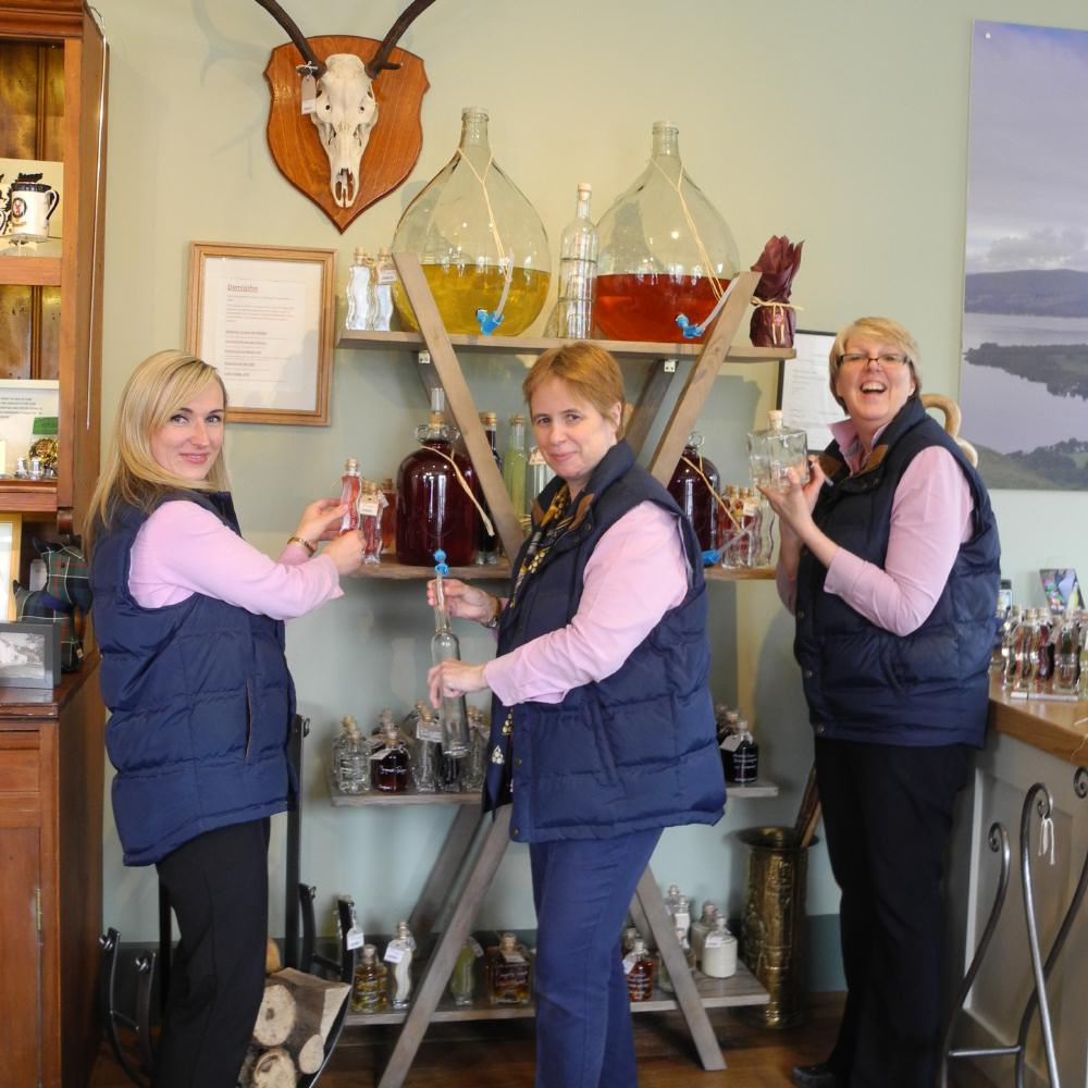 Jan and her Team in Luss General Store with their new Demijohn in-store Concession