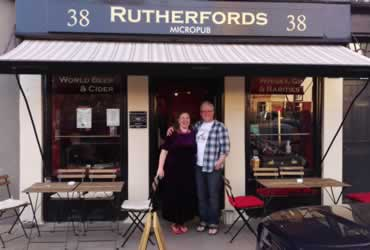 Simon and Debbie at the front of their Micropub