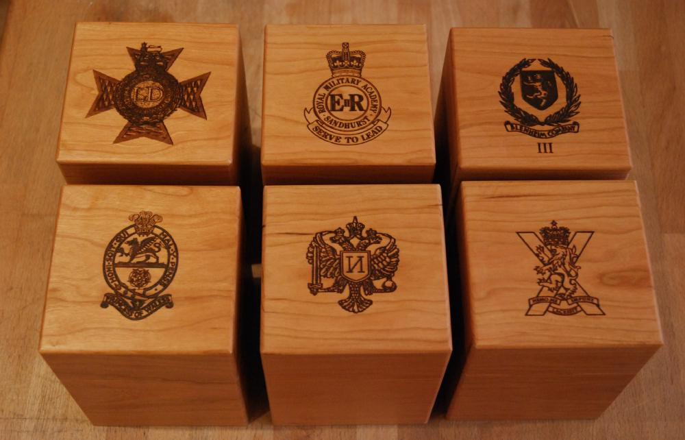 We can engrave logos and crest on all of wood or glass products